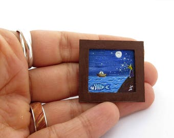 ORIGINAL Miniature Acrylic Painting, Miniature Painting for Dollhouse or Collection, Tiny Painting Starry Night, Fish and Boat