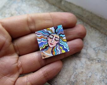 dollhouse original miniature, Unfraimed mini painting, Original Miniature Painting, Miniature Woman Portrait, Dollhouse painting, Colorful