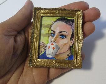 Miniature Original Painting,  NOT A PRINT, Mini Artwork with Gold Frame, Art miniatures Collection, Tiny Painting Tea time