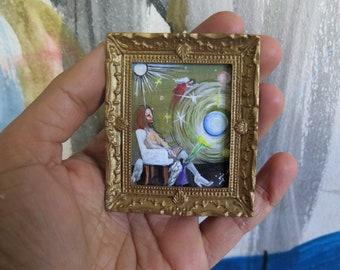 Miniature Original Acrylic Painting, Art Collection, Dollhouse Miniature Painting, Miniature Planets, Miniature cosmic painting