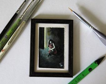 Original Miniature Painting by VaKaDi, Dollhouse Miniature Painting, Small Acrylic Painting, Primitive art, Collectable art