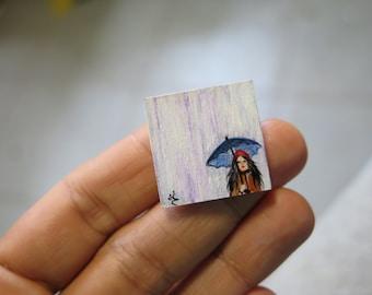 dollhouse original miniature, Unfraimed mini painting, Original Miniature Painting Rain, Miniature Woman with umbrella, Raining miniature