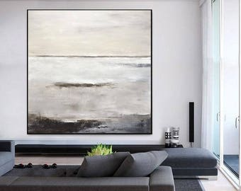 Abstract Painting Large Original Oil Painting Modern Art Taupe White Brown Contemporary Design Canvas FLOAT FRAME AVAILABLE by Sky Whitman