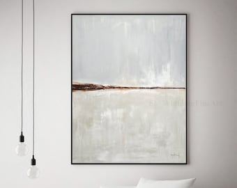 Minimalist Abstract Painting Contemporary Art Original Large Modern Painting Gray Taupe Burnt Clay Oil Painting Large Art Artwork by Whitman