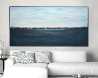 Massive Original Landscape Painting 6 Foot Blue Abstract Art Oil Painting Original Modern Art Large Seascape Contemporary Ocean Sky Whitman