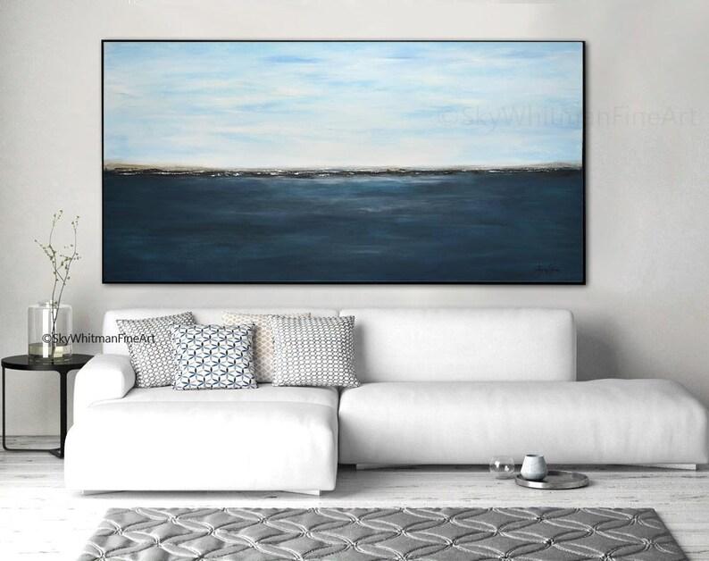 Massive Original Landscape Painting 6 Foot Blue Abstract Art image 0