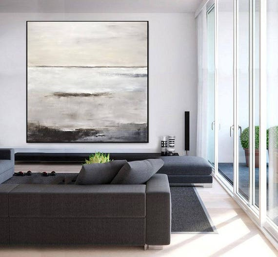 Taupe Abstract Art Canvas