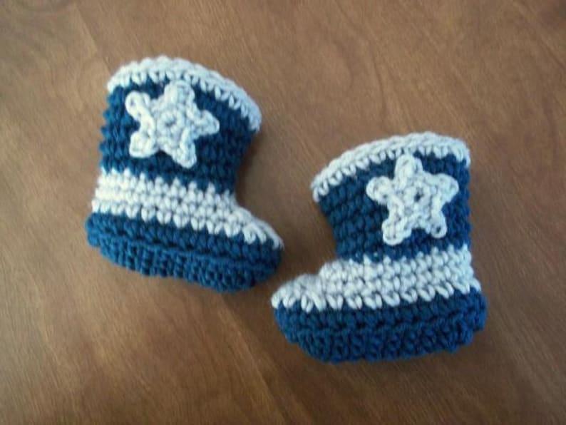 4282251b082 Dallas Cowboy Crocheted baby Boots Newborn 3 months PHOTO