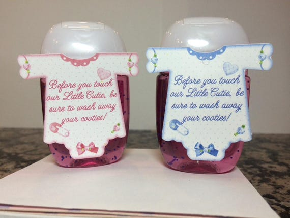 Hand Sanitizer Tags Baby Shower Favor Tags Onesie Shaped Pink