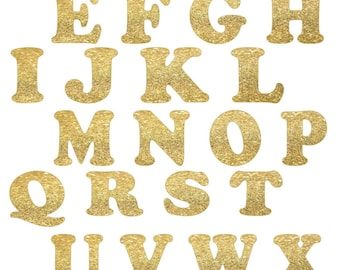 Gold Glitter Alphabet Letters - Die Cut Letters - 26 letters - 1.5 or 2.0 inches