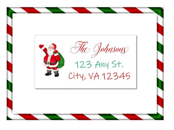 christmas holiday address labels or gift label sticker santa
