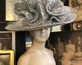 54a366faeb38d Fabulous Vintage 80s Avant Garde Mr Hi s Classic Silver Lame Ladies  Hollywood Glam Derby Ladies Dramatic Statement Hat