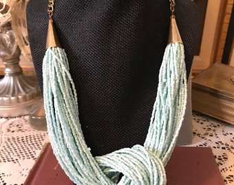 Pastel blue and silver necklace powder blue multi strand beaded necklace,seed bead boho necklace,bridesmaid necklace,gift for women,for her