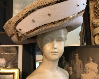 c73a6beefb2f6 Fabulous Vintage 80s Mr Hi s Statement Avant Garde Church Garden Party  White Wool Gold Sequins EMbellished Large Ladies Hat