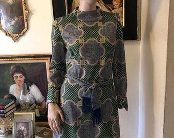 Vintage 70s Staccato Dress Bold Printed Fringe Mini Dress Size Small to Medium