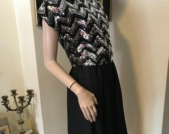 171945909b76 Vintage 70s Ultimate Black Silver Sequins Disco Toni Todd Ladies Dress size  Medium