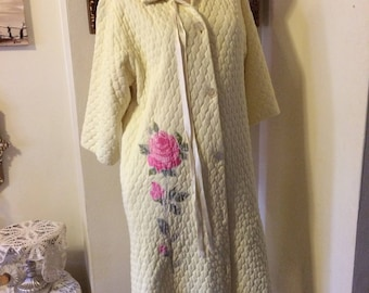 Vintage 60s Yellow Quilted Pink Rose Mad Men Ladies Eveyln Pearson Robe  Size Small Medium Gifts for Her e5916ab3d