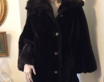 c8c6480ed6c Vintage 60s Sears black Faux fur Gold Black button military ladies Mod  Peacoat size medium