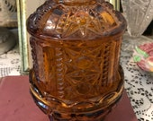 Vintage 60s MCM Indiana Glass Stars and Bars Amber Glass Fairy Lamp Tea Lamp Wedding Bridal Gift for Her