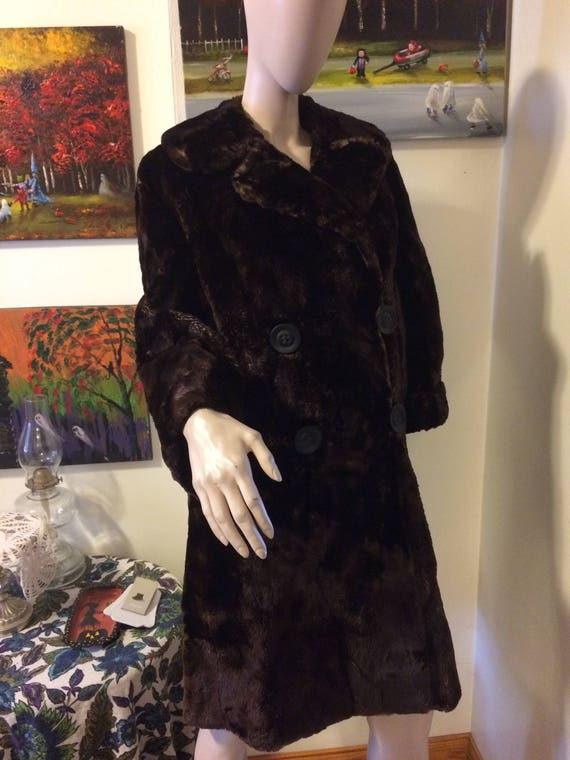 Vintage 30s 40s Brown Sheared Beaver Russian Prin… - image 1