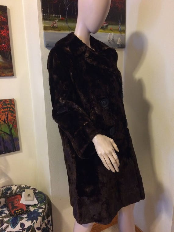 Vintage 30s 40s Brown Sheared Beaver Russian Prin… - image 6