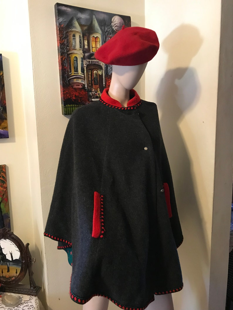 Vintage 70s Stunning Grey Red Wool Ladies Elegant Holiday Cape Gift for Her One Size