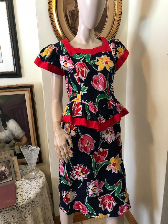 Vintage 80s Bold Floral Periwinkle Ladies Peplum G