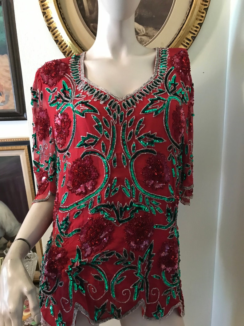 Vintage 70s Spectacular Ladies Green Red Silver  Floral  Deep V Heavy Sequin Beaded  100/% Silk  Holiday Top Size Medium Gift for Her