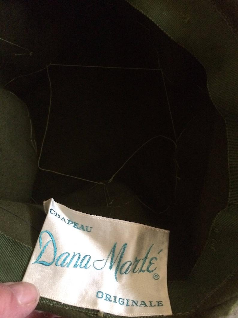 Vintage 60s Dana Marte Original Sage Green Creme Black Wool Knit AVant Garde Ladies Ski Toque Hat Gift for Her