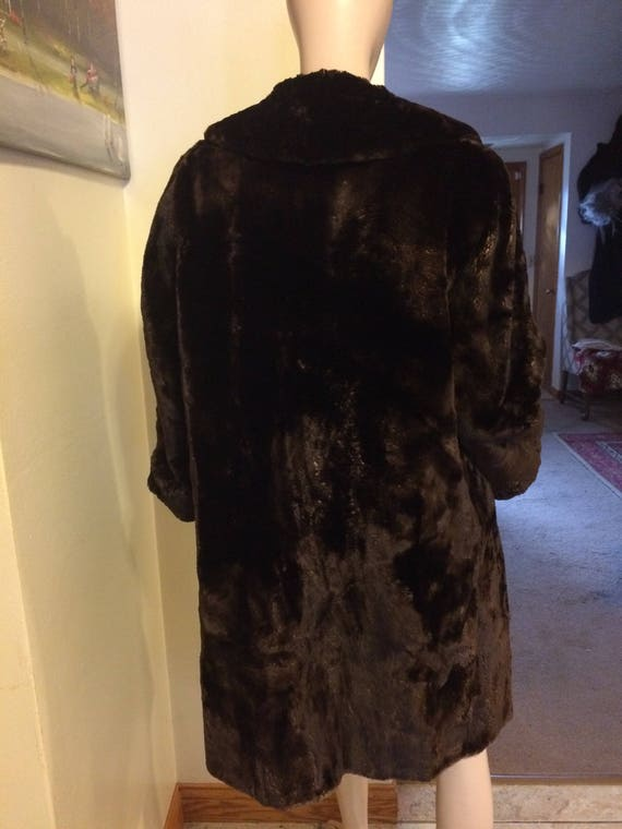 Vintage 30s 40s Brown Sheared Beaver Russian Prin… - image 4