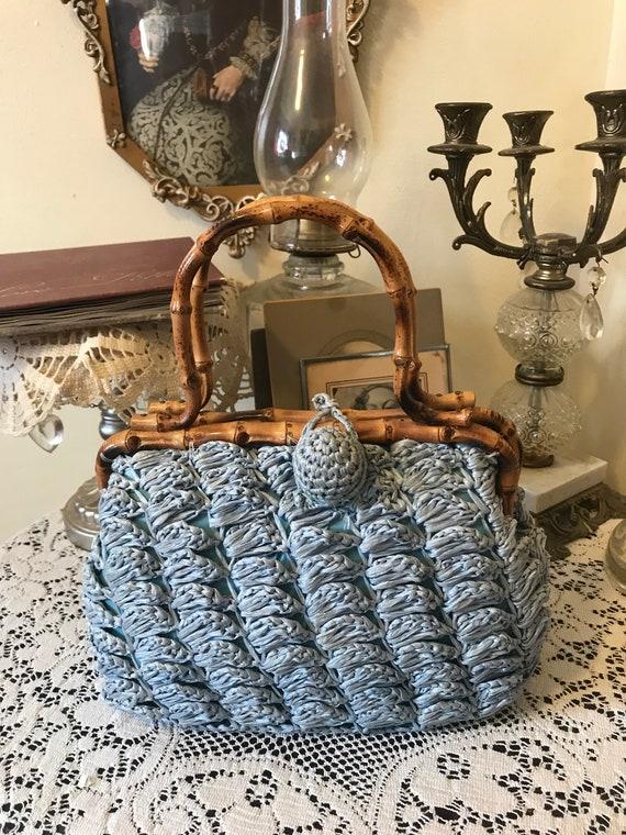 Vintage 60s Babette Pale Blue Rattan Ladies  Straw Wicker Summer Beach Resort Handbag  Gift for Her