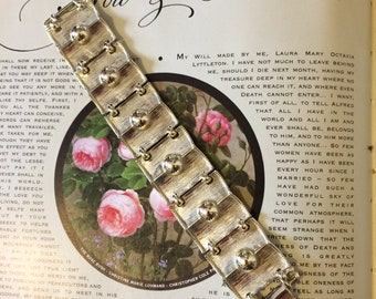 Vintage 70s Bold Chunky Gold Metal Statement Hip Ladies Clasp Bracelet Gift for Her
