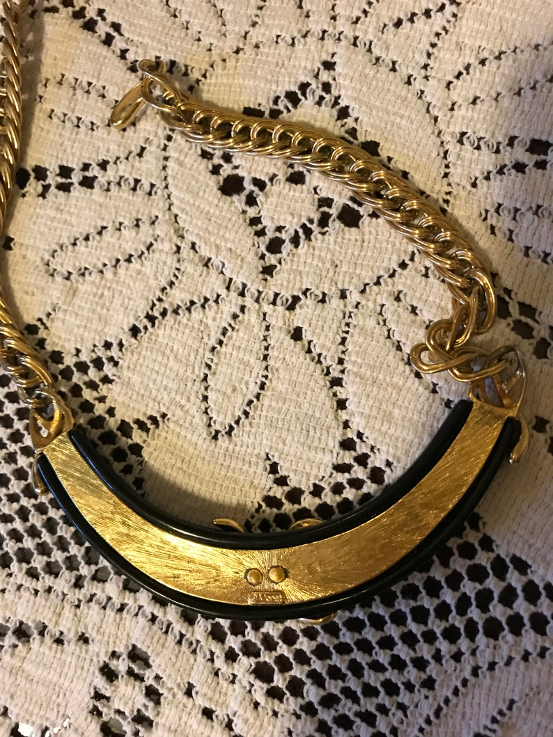 Vintage 80s Monet Signed Bold Heavy Gold Plated Link Black Enamel Ladies Necklace Choker Gift for Her