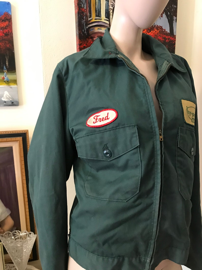 Vintage 60s Mens Green Work Jacket Utility Jacket Patches Fred Hy Point Farms Mens Crop Work Jacket Coat  Size SMall Medium Gift for Him