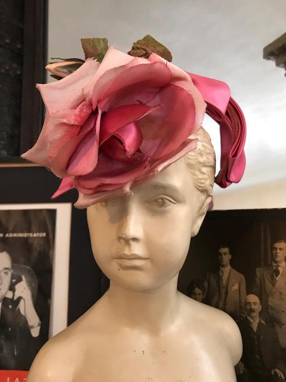 Stunning floral pink Vintage 1950s hat.