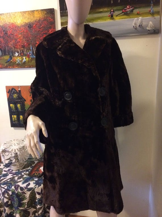 Vintage 30s 40s Brown Sheared Beaver Russian Prin… - image 3
