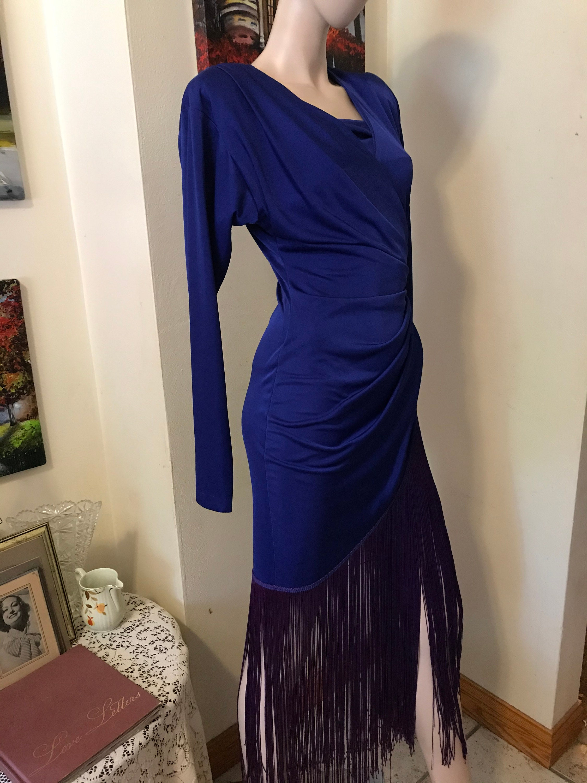 80s Dresses | Casual to Party Dresses stunning Vintage 80S Betsy  Adam Cobalt Blue Fringe Ladies Cocktail Evening Dress Size Small $51.00 AT vintagedancer.com