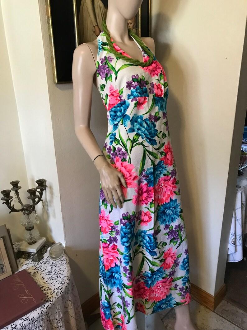 Vintage 60s MOD Bold Pink Green Blue Tropical Floral Cotton Halter Ladies Maxi Column Beach Resort Dress Size Medium Large