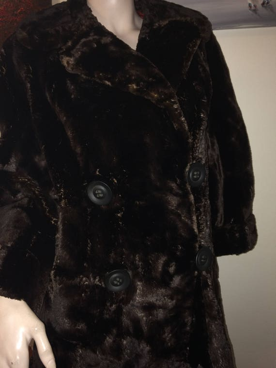 Vintage 30s 40s Brown Sheared Beaver Russian Prin… - image 5