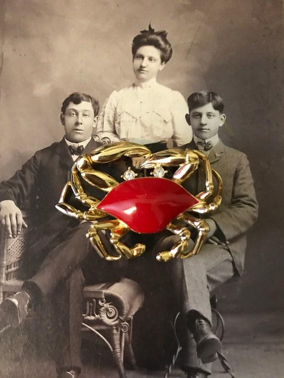 Vintage Gold Tone Red Enamel Rhinestones Trifari … - image 5