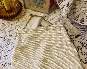 Vintage 50s  White Mid Century Seed Bead Silk Gold Ladies Evening Handbag Holiday Purse Gifts for Her