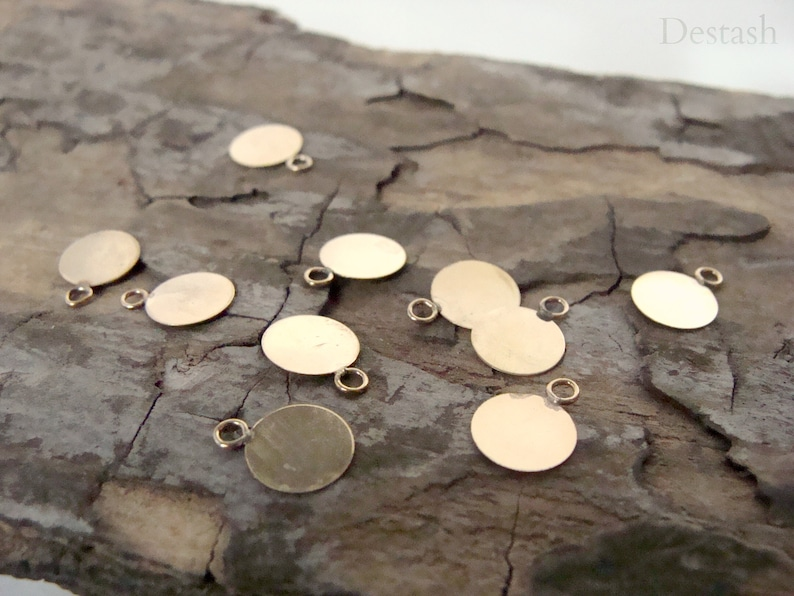 lightweight 7mm round flat charm with closed ring goldfilled tag destash jewelry making supplies Goldfilled charm sold in lot of 5