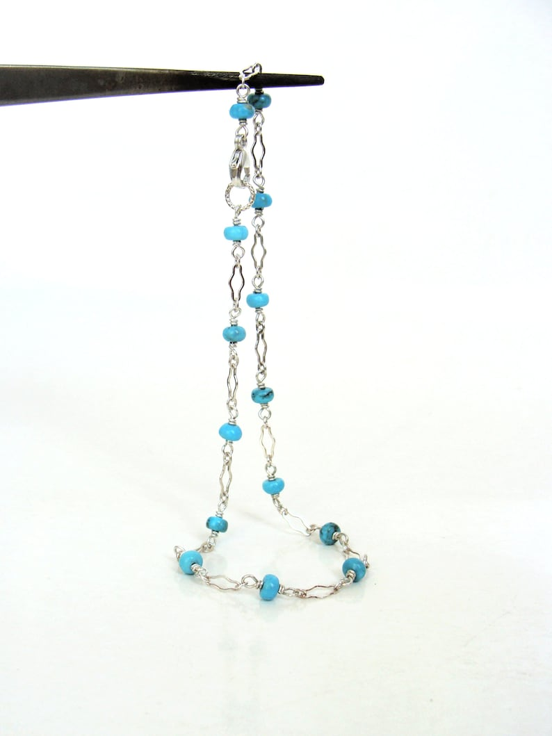 sterling silver genuine blue Arizona turquoise stations handmade Turquoise anklet fancy links summer jewelry style Let Loose Jewelry