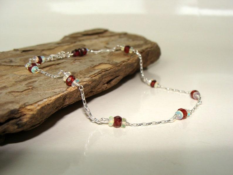 adjustable length handmade Opal garnet gemstone anklet resort getaway winter wedding style genuine stones sterling silver