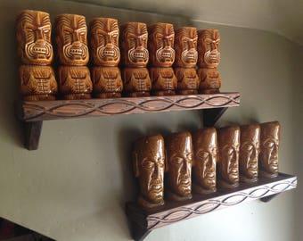 Pair of Witco style carved wood  tiki mug shelves