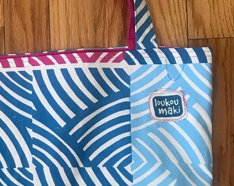Reusable Eco-friendly Geometric fully lined UGLY cotton tote bag - pink and blue
