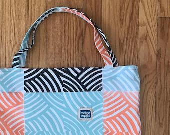 Reusable Eco-friendly Geometric fully lined cotton tote bag - blue black orange