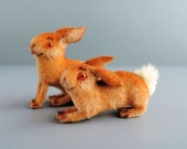Vintage Kunstlerschutz Flocked Bunny Rabbit Toy Figurine Set West Germany Fritz Wagner Mid-Century Miniature Putz Animal Collectibles