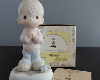 Retired Reissue Vintage Precious Moments Jesus Is The Answer Figurine E1381R St Jude Hospital 1992 G-Clef Mark Boy Patching World