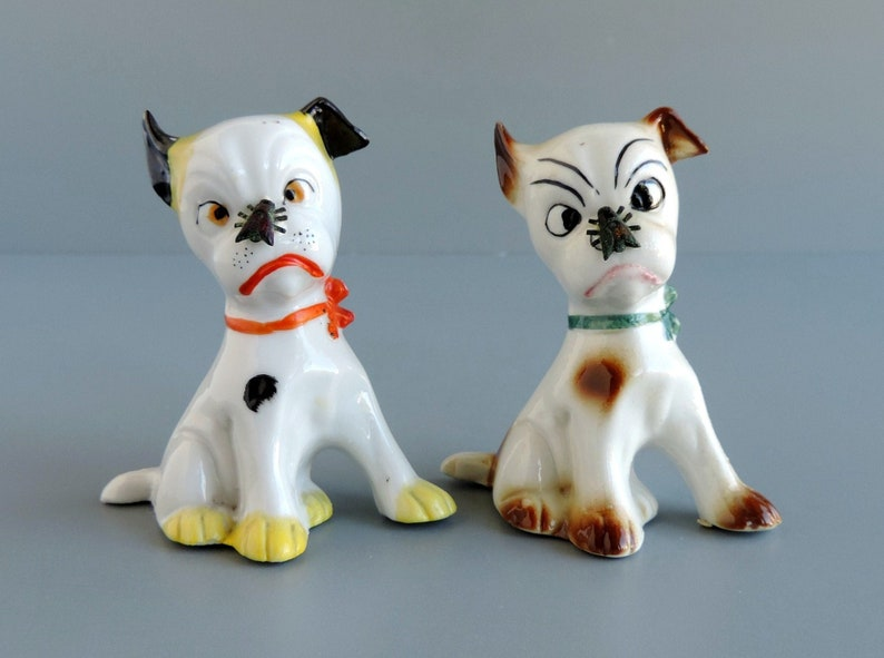 Vintage Dog Figurines with Fly on Nose | Set of Two Pups | 1940s Germany